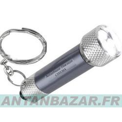 Mini torche porte clé lumineux LED gris métal