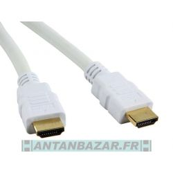 Cable HDMI High Speed 3D avec Ethernet FULL HD 2 Metres - BLANC