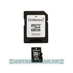 MicroSDHC 16Go Intenso Premium CL10 UHS-I avec adaptateur
