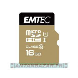 MicroSDHC 16Go EMTEC avec Adaptateur CL10 Gold UHS-I - Sous blister