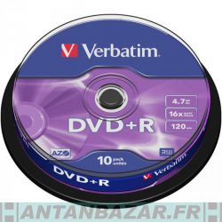 Pack de 10 DVD+R 4.7GB Verbatim 16x