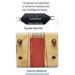 Composant de substitution de resistance de prechauffage de lampe Heurtier Monofilm